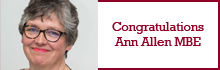 Congratulations to Ann Allen MBE